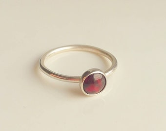 Red Garnet Sterling Silver Solitaire Stacking Stackable Ring Band