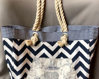 Nautical Beach Bag, Coastal Beach Tote, Monogram Optional, Summer Bag, Travel Tote, Cruise Bag, Cotton, Rope Handle, Beach Lover, Navy Blue