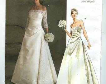 V2842 Vogue - Bridal Original - Misses Lined Dress Bare shoulder -  NEW Sewing pattern  Sz. A 6-10, D 12-16, FW 18-22
