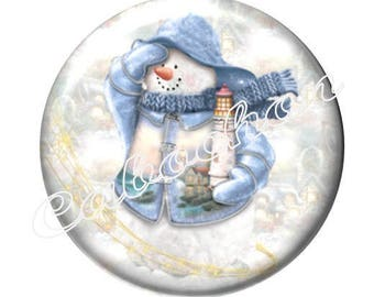 1 illustrated cabochon 30mm glass cabochon image Christmas, snowman