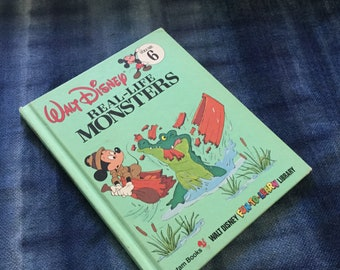 1980's 1983 Vintage Walt Disney Micky Mouse Goofy Book Real Life Monsters Picture Book Illustrated Children Library Reading 124