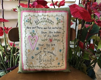Embroidered Friendship Pillow - Inspirational Pillow - Room Accent - Spring Room Accent - Home Decor - Gift Idea - Bridesmaid Gift - Mother