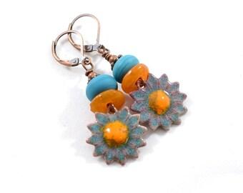 Handmade Orange and Blue Sunflower Earrings, Copper Earrings, Sunflower Earrings, Flower Earrings, Antique Copper Earrings,  E027