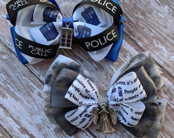 Doctor Who TARDIS and weeping angel Hair Bows