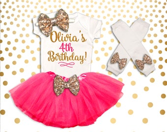 Personalized 4th Birthday Outfit Pink and Gold 4th Birthday Tutu Set 4th Birthday Outfit Birthday Tutu Set 4th Birthday Shirt