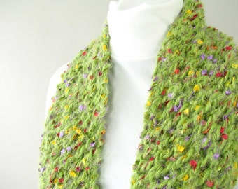 Handknit Green Lace Scarf - Fuzzy Green Scarf - Field of Flowers