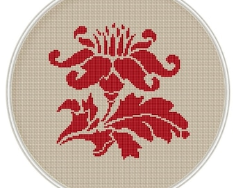 Red Flower cross stitch pattern, cross stitch chart, cross stitch PDF