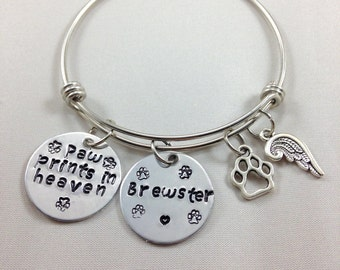 Pet memorial bangle bracelet- paw prints in heaven- personalized- hand stamped- paw charm- wing charm- loss of pet- sympathy gift - pet loss