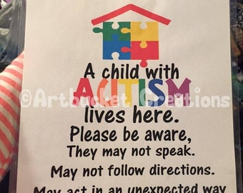 Autism Safety Sign For Home
