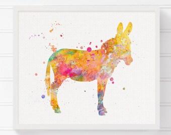 Donkey Art Print, Watercolor Donkey, Donkey Painting, Donkey Poster, Donkey Wall Decor, Nursery Art Print, Baby Shower Gift, Kids Wall Art