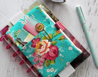 Retro floral planner pouch with elastic band - mini happy planner cover - floral pen pouch - chunky franken planner accessories
