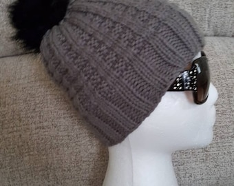 Winter hat, faux fur pom hat, hand knitted hat, grey knitted hat, women's  accessory
