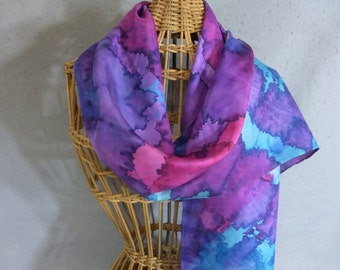 "Hand Painted Silk Scarf ""Jewel Colors"""