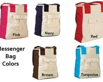 PERSONALIZED Large Canvas Messenger Tote Bag with Embroidery or VINYL!