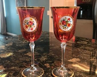 Fuchsia Colored Wine Glasses Etched Vine Design Clear Stem, Stemmed Dinnerware Drinking Glass, Set of 2 Goblets, Item #602664665