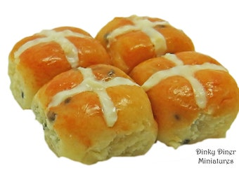 Hot Cross Buns - Miniature 1:12 Scale Food