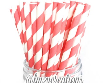 PAPER STRAWS, CORAL Paper Straws, 25 Stripe Coral Paper Straws, Cake Pops, Coral Weddings, Birthday Party, Coral baby shower, Diy Flags