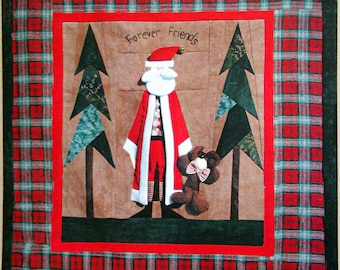 Teddy Bear Santa By Ruth Jensen And Thimbleart Foundation Pieced Wall Quilt Pattern Packet 2001