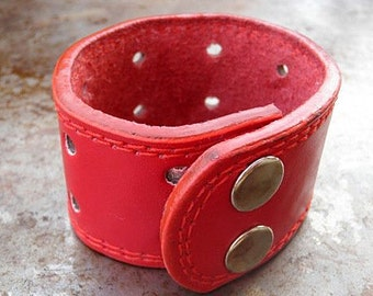 Leather Cuff, Red Leather Fashion Cuff - FREE SHIPPING (G2P259)