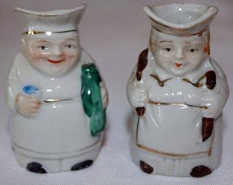 Vintage Pair of Miniature Baker Toby Mugs