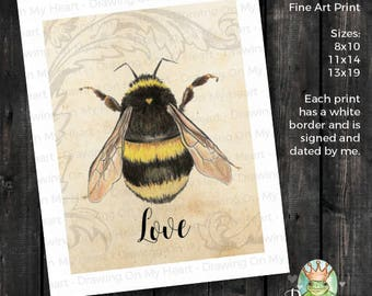 Bee Love Fine Art Print - Original Hand Painted Watercolor and Colored Pencil - Bumble Bee - 8x10 - 11x14 - 13x19