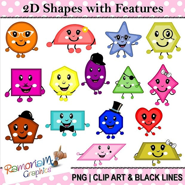Math 2D Geometric Shapes With Features Clip Art