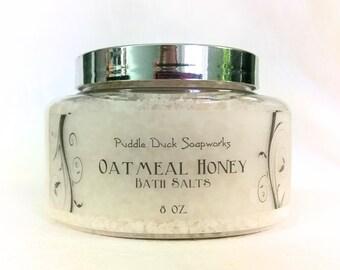 Oatmeal Honey Bath Salts with Mediterranean Spa Salts - Purest Salt in the World, 8 oz..