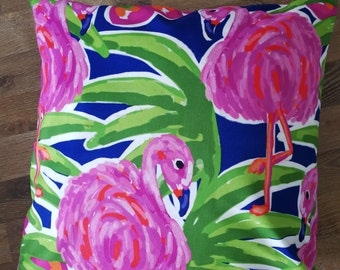 "Decorative pillow cover/Watercolor flamingo cushion cover/ pillow throw/pillow sham 18x18"""