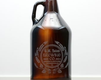 Personalized HomeBrew Growler with hops and wheat Homebrew,fathers day gift,custom pint,engraved pint, custom Beer Glass