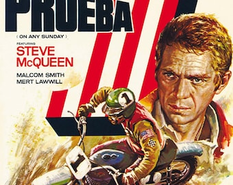On Any Sunday (1971) Steve McQueen cult Bikers movie poster reprint 19x12.5 inches