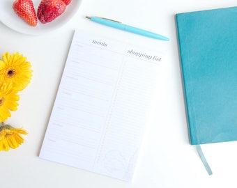 Meal Planner Notepad A5, Weekly Menu Plan, Shopping list Notepad, Grocery List Notepad, Weekly Menu Notepad, Shopping pad, Food planner pad
