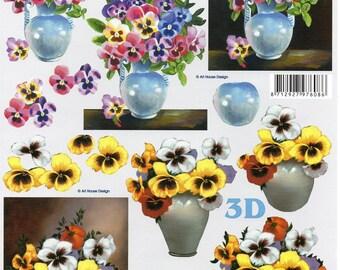 1x Feuille pour découpage 3D  BOUQUET de FLEURS     (9987)