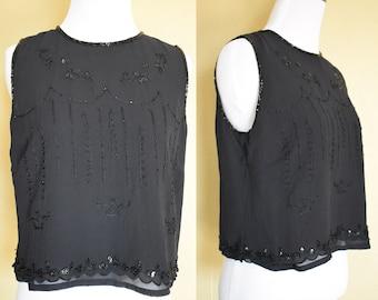 Black Silk Beaded Crop Top / Silk Top / Black Silk Top / Silk Blouse / Black Crop Top / Silk Crop Top / Sequence Top / Beaded Blouse / Small