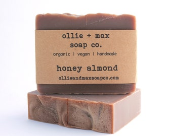 Honey Almond Soap, Vegan Soap, Cold Process Soap, Natural Soap, Organic Soap