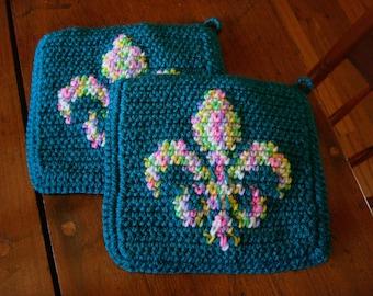 Fleur De Lis Potholders - Fleur De Lys Potholders - Teal  Potholders - Crochet, Crocheted Potholder Pot Holder Hot Pad Kitchen MADE TO ORDER