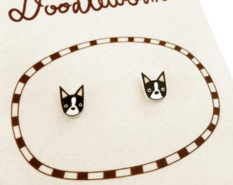 Boston Terrier Earrings, Boston Terrier Jewelry, Tiny Earrings, Boston Terrier Jewellery, Dog Earrings, Dog Jewelry, Shrink Plastic
