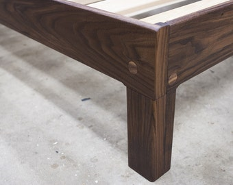 Walnut King Platform Bed Frame with Truly Natural Finish and 90+% American-Made Materials