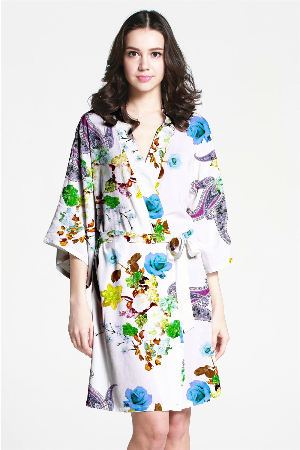 F07202 Floral dressing gown bride dressing gown primark