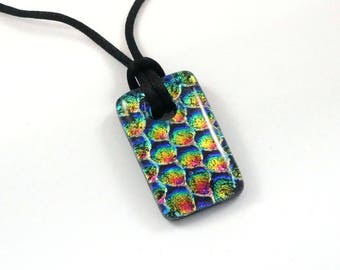 Dichroic Glass Pendant Necklace - Fused Glass Jewelry