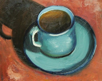 Print of Coffee 9 oil painting by Roz 10x10inch