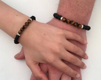 Fathers Day gift, Lava and tigers eye bracelet set with sterling silver, couples bracelets, Father and son matching bracelets, gift for dad