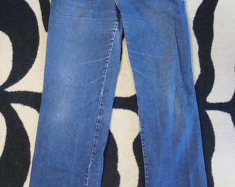 vintage HIGH WAIST JEANS flare straight leg S early 80's 1980's