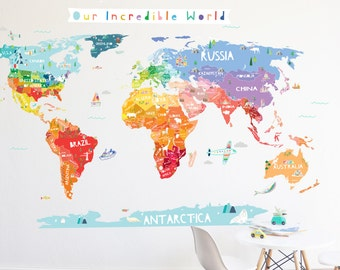World map decal etsy world map wall decal our incredible world world map wall decal with personalization stickers gumiabroncs
