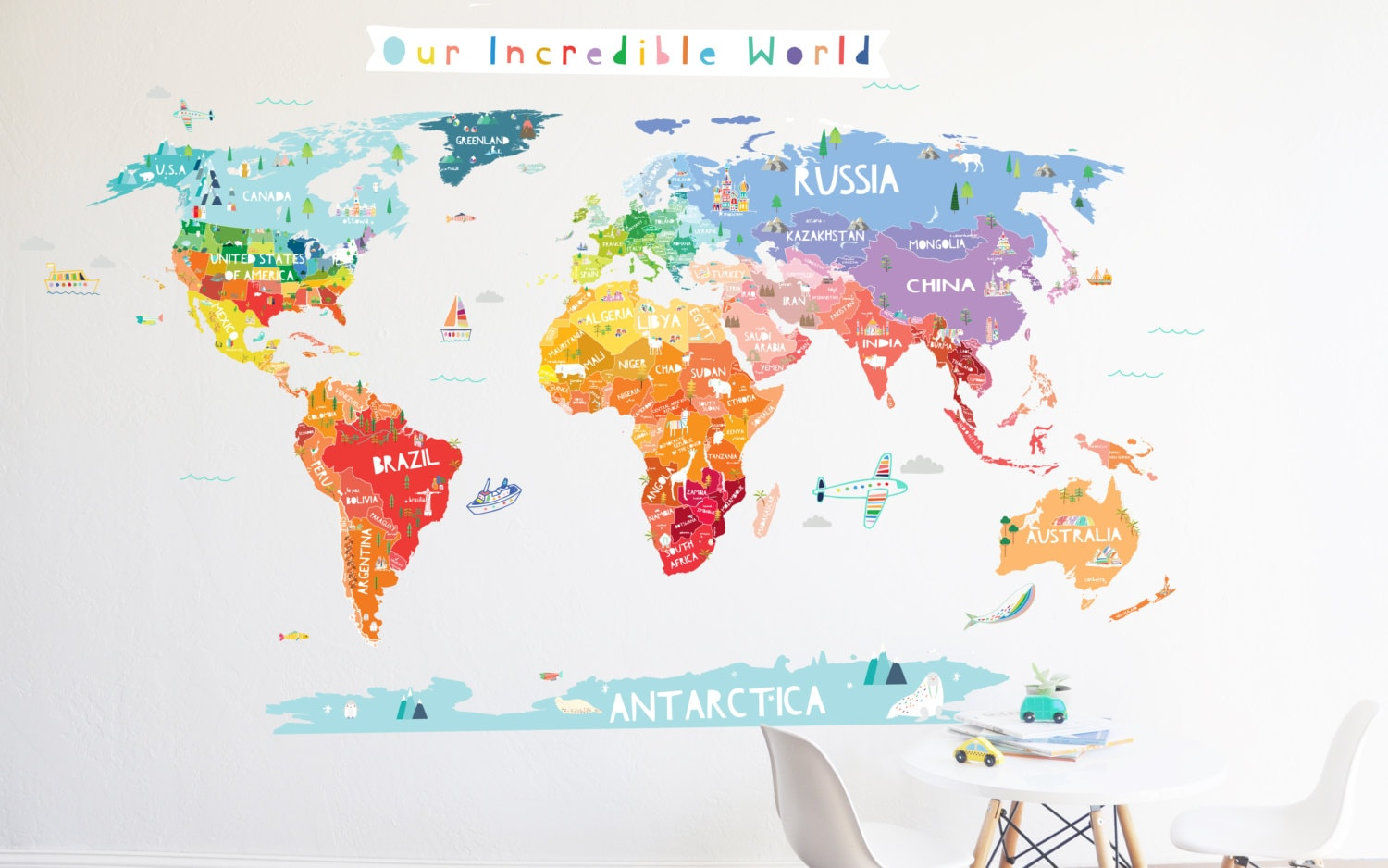 World map wall decal our incredible world world map wall zoom gumiabroncs Choice Image