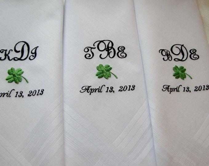 Set of 3 Monogrammed Men's Handkerchiefs, Custom Embroidered Handkerchiefs for men, Groomsmen Gifts, Gifts for the Groom, Groom from Bride