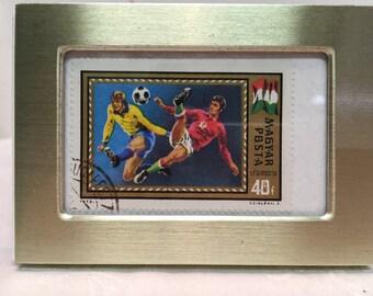 Soccer, Vintage Stamp, Gift Under 10 dollars, Framed Soccer Picture, Gift for Him , Framed Postage Stamp,