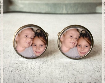 Groomsmen Gift, Custom Photo Cufflinks, Personalized Cufflinks, Custom Cuff LInks, Photo Cuff link, Gift for Groom, Gift for Father, Wedding