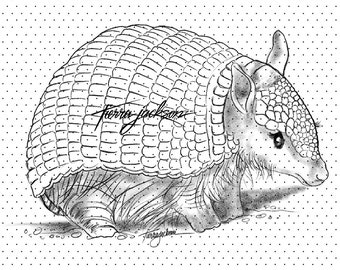 Tierra's Lovebugs - Armadillo - instant download digital stamps by Tierra Jackson