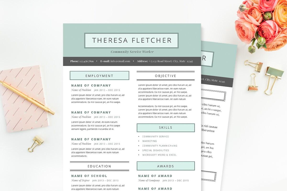 Currículum vitae elegante & plantilla de carta de presentación