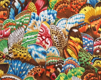 BUTTERFLY WINGS Natural World Multicolor Butterflies Wing Quilt Fabric - by the Yard, Half Yard, or Fat Quarter Fq by Snow Leopard Designs